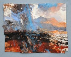 David Tress The Cuillins From Raasay. I' mixed media on paper, 32 x 41 cm. Gerhard Richter, Landscape Artwork, Abstract Landscape, Claude Monet, River Painting, Knife Painting, Artist Sketchbook, Butterfly Art, Silhouette