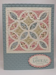 handmade greeting card by Bonnie Emmons ... lattice die cut  in cream filled with various pastel prints ... fill prints arrange in pleasing pattern to lead the eye around the quilt block ... could make several cards with different patterns..., sweet and pretty card ... Stampin' Up!