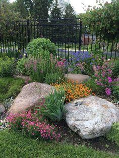 , Impressive 36 The Best Front Yard Rock Garden Ideas. , Impressive 36 The Best Front Yard Rock Garden Ideas Landscaping With Boulders, Outdoor Landscaping, Front Yard Landscaping, Outdoor Gardens, Landscaping Design, Natural Landscaping, Landscaping With Flowers, Decorative Rock Landscaping, Landscaping With Large Rocks