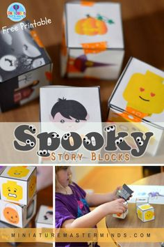 Free Printable Spooky Story Blocks For Building Not So Scary Halloween Stories Who doesn't love playing with story blocks and children? I love to hear the fun creative stories they come up wi…