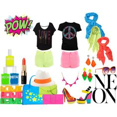 A fashion look from May 2012 featuring neon tees, neon pink shorts and neon yellow shorts. Browse and shop related looks. School Spirit Days, Neon, Shoe Bag, Polyvore, Inspiration, Clothes, Accessories, Shoes, Design