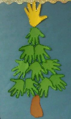 over 30 fun Christmas tree crafts for kids Handprint Christmas Tree Handprint Christmas Tree, Cool Christmas Trees, Preschool Christmas, Christmas Activities, Kids Christmas, Tree Handprint, Christmas Tree With Toddler, Xmas Tree, Classroom Christmas Decor