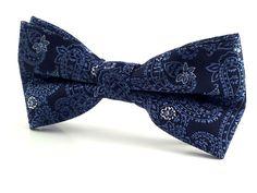 Dark Blue Patterned Paisley - Bow Tie – Aristo Ties
