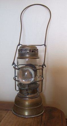 Antique Justrite Lantern Miner's Hand Lamp with Bullseye & Reflector