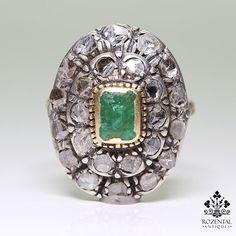 Antique Victorian 18K Gold Diamond & Emerald Ring – Rozental Antiques