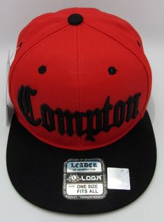 COMPTON Snapback Hat South Central Los Angeles Cali Cap Red Black OSFM New 84058a23977d