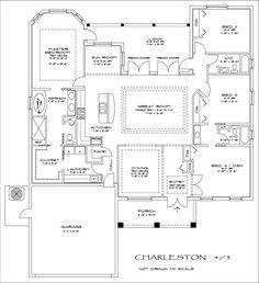 The Charleston - 4 bedroom, 3 bathroom floor plan. This may be my favorite floor plan. LOVE all the pocket doors :)