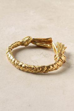 Golden Tassel Bracelet (raffia rope enveloped in 18k gold vermeil)