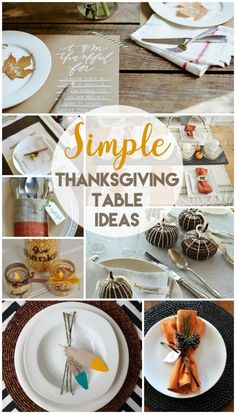 Time to be inspired! These 10 Creative Thanksgiving Table Settings will get you planning for a simple, yet beautiful table. Thanksgiving Traditions, Thanksgiving Table Settings, Thanksgiving Parties, Thanksgiving Crafts, Thanksgiving Decorations, Table Decorations, Thanksgiving Activities, Christmas Activities, Fall Table