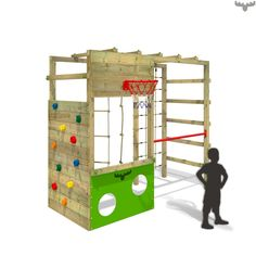 Climbing Tower Climber Clever Club XXL. Here children can climb on the ladder, gymnastics bar and play football. Visit now the great fatmoose-Shop!