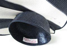 Vintage Straw Nautical Hat Tilt Topper Navy White by AlexSandras, $95.00