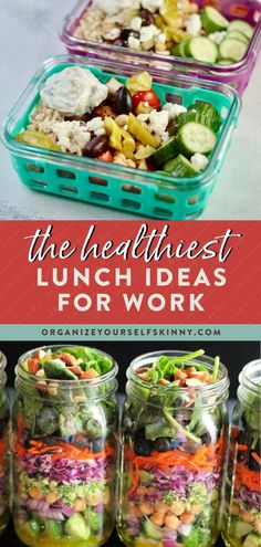 The Healthiest Lunch Ideas for Work | Lunch Meal Prep Ideas - Looking for some healthy, make-ahead lunch recipes to keep you consistent and on track with your healthy lifestyle? Here are some of the best make-ahead lunch ideas for work that are not only healthy but super simple to make! Organize Yourself Skinny | Lunch Recipes for Work | Meal Planning Ideas | Clean Eating Recipes for Weight Loss #lunchrecipe #worklunch #mealprep #mealplanning #weightloss Quick Healthy Lunch, Healthy Freezer Meals, Healthy Meal Prep, Clean Eating Recipes For Weight Loss, Healthy Eating Recipes, Lunch Recipes, Healthy Salads, Work Meals, Easy Lunches For Work