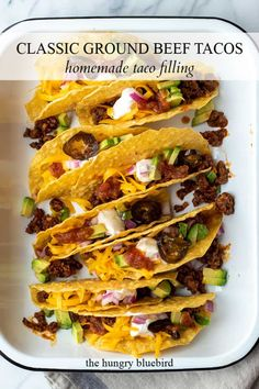 Classic family friendly tacos with easy homemade ground beef taco filling, comes together in about half an hour for a delicious weeknight dinner. #thehungrybluebird #classicbeeftacos #groundbeeftacos #tacotuesday #homemadetacomeat #beeftacofilling #fromscratch #weeknightdinners #easyrecipe #comfortfood Ground Turkey Enchiladas, Ground Beef Tacos, Grilling Recipes, Beef Recipes, Cooking Recipes, Beef Taco Seasoning, Ground Sirloin, Taco Fillings, Homemade Tacos