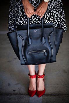 Celine + Valentino.  Assuming lipstick matches shoes.