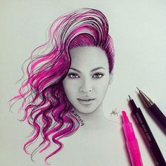 Not sure who drew this but it's a beautiful drawing of Beyonce