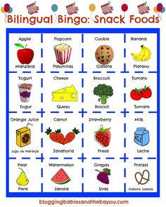Your Children Spanish while having fun! Bilingual Bingo - Spanish / English Snack Food Bingo ESL GamesTeach Your Children Spanish while having fun! Spanish Lessons For Kids, Learning Spanish For Kids, Spanish Basics, Spanish Language Learning, Teaching Spanish, Learning Italian, French Lessons, Teaching French, Spanish Lesson Plans