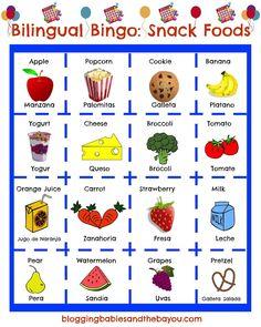 Teach Your Children Spanish while having fun! Bilingual Bingo - Spanish / English  Snack Food Bingo ESL Games