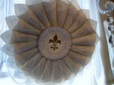 Vintage paper wreath with hymnal sheets, serene looking.