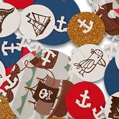"""Amazon.com: Custom & Fancy {Assorted Sizes 1"""" - 2"""" Inch} Approx 100 Pieces of Large """"Table"""" Party Confetti Made of Premium Card Stock w/ Pirate Theme Sword Anchor & Ship Shapes Design [Black, White, Blue & Gold]: Toys & Games"""