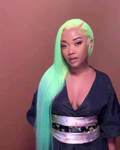 Blue Wigs Lace Frontal Hair Daenerys Wig Celeste Wig Places To Buy Wig – xxshoop Baddie Hairstyles, My Hairstyle, Pretty Hairstyles, Scene Hairstyles, Easy Hairstyles, Curly Hair Styles, Natural Hair Styles, Green Wig, Hair Streaks