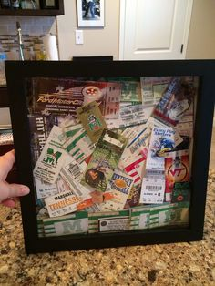 Shadowbox to display old sporting event tickets for my nostalgic husband