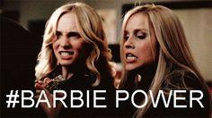 I love Damon's nicknames for people.. Caroline - Vampire Barbie; Rebekah- Barbie Klaus