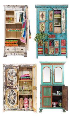 shabby chic furniture boho style wardrobe dresser shelves display cabinet - DIY Home Decor Funky Furniture, Shabby Chic Furniture, Furniture Makeover, Furniture Ideas, Bedroom Furniture, Vintage Furniture, Country Furniture, Unpainted Furniture, Dresser Furniture