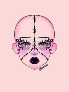 Goth Eye Makeup, Punk Makeup, Anime Makeup, Eye Makeup Art, Crazy Makeup, Pretty Makeup, Makeup Inspo, Makeup Inspiration, Graphic Makeup