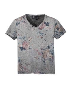 T-shirt col V à manches courtes en coton slub anthracite