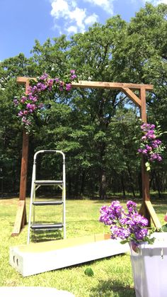 Backyard Wedding Discover How to set up arch flowers- Dallas wedding florist Gorgeous purple arch flowers set up by Flower Shack Blooms of Tx- best southern florist Purple Wedding, Wedding Flowers, Wedding Arbors, Arch Wedding, Arbors For Weddings, Small Backyard Weddings, Simple Wedding Arch, Wedding Trellis, Wedding Aisles