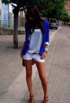 BLUE AND WHITE  , Zara in Blazers, Blanco in T Shirts, Bershka in Shorts, Zara in Heels / Wedges