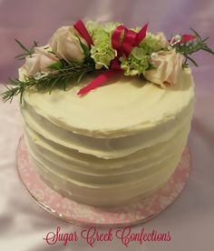 Textured Buttercream cake with fresh flowers Sugar Creek Confections