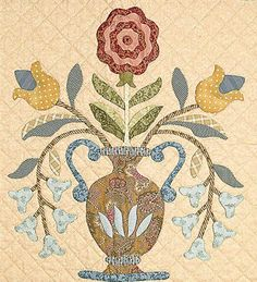Floral Medallion (As a side note, this would make a lovely hooked rug) Hand Applique, Applique Patterns, Quilt Patterns, Applique Designs, Hexagon Quilt, Square Quilt, Baltimore, Medallion Quilt, Flower Quilts
