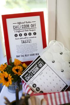 30 minute Chili Recipes and Chili Cook-Off Party Printables at the36thavenue.com
