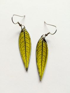 Small Long Chartreuse Ceramic Leaf Earrings by AlainaSheenDesigns