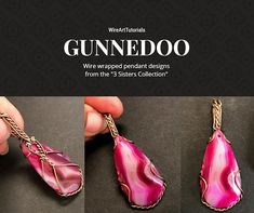 """TUTORIAL GUNNEDOO """"3 Sisters Collection"""" PDF pattern book,wire wrap weave jewelry,wrapping weaving,wrapped weaved,large,big pendant design"""