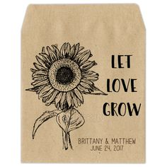 Personalized wedding seed packets hand drawn sunflower design. Eco-friendly seed packaging made from over 70% recycled Brown kraft paper. Packets are empty with self-sealing closure backs. Ready for you to fill with any type of garden seeds you like. Enter your personalized details below including bride and grooms name, wedding date, quote/saying and seed name (optional). You can also choose custom fonts.