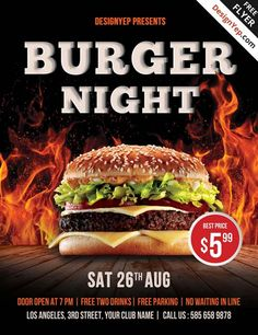 Free Burger Night PSD Flyer Template - http://freepsdflyer.com/free-burger-night-psd-flyer-template/ Enjoy downloading the Free Burger Night PSD Flyer Template by Designyep! #Barbecue, #Bbq, #Burger, #Fire, #Grill, #Hot, #Promotion, #Restaurant, #Summer