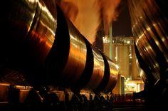鉄道, カール, タンク, 産業, 化学, トレイン, 貨物, 夜, 煙, ノクターン