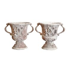 Pair of Unusual French Decorative Lead Urns