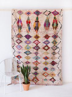 VINTAGE MOROCCAN BOUCHEROUITE RUG // THE HAYDEN  the word boucherouite comes from a moroccan-arabic phrase meaning torn and reused clothing. in the