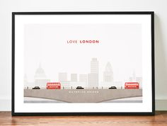 LONDON poster illustration art print LOVE by WeaversofSouthsea ... UK skyline on one side, merging into Canadian skyline with Jack and Maple each holding little flag