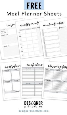 these letter size print outs are a great way to plan your meals out for the week. Use the meal idea sheet to come up with a few different ideas for each meal of the day; breakfast, lunch, dinner and, of course, dessert. Free Meal Planner, Meal Planner Template, Meal Planner Printable, Week Planner, Weekly Dinner Planner, Weekly Meal Plan Template, Goals Printable, Grocery List Printable, Planner Ideas