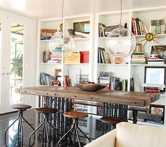 table and stools combination of bright and rustic