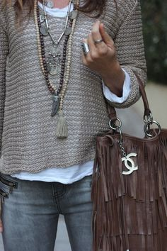 ❤️❤️❤️ Beaded long pendant necklaces & silver pendant necklace with a taupe sweater, white t-shirt, grey skinny jeans, chocolate fringe handbag
