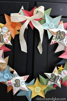 DIY Birthday Star Wreath using Echo Park Paper and a Silhouette CAMEO - fun Silhouette party project!