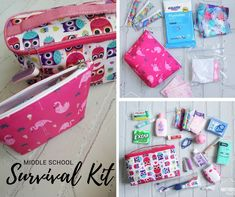 Middle school girl survival kit diy hacks that make life easier. School Emergency Kit, Emergency Kit For Girls, School Kit, Emergency Kits, Survival School, School Days, School Stuff, Middle School Supplies, Middle School Hacks