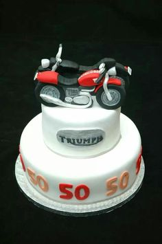 Triumph and Harley Davidson motorbike birthday cake.