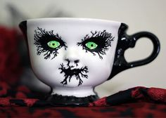Hand Painted Ceramic 3 inch Corpse Paint Teacup by CarrionComfort, $20.00
