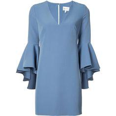 Milly v-neck dress (5.082.880 IDR) ❤ liked on Polyvore featuring dresses, blue, blue high low dress, v-neck dresses, blue hi lo dress, v neck dress and 3/4 sleeve dresses